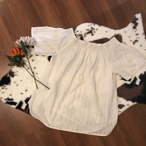H&M LOGG Off Shoulder White Top cream beige